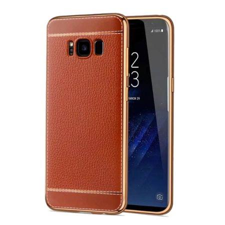 Handy Hülle für Samsung Galaxy S8+ Plus Schutz Case Tasche Kunstleder Braun – Bild 1