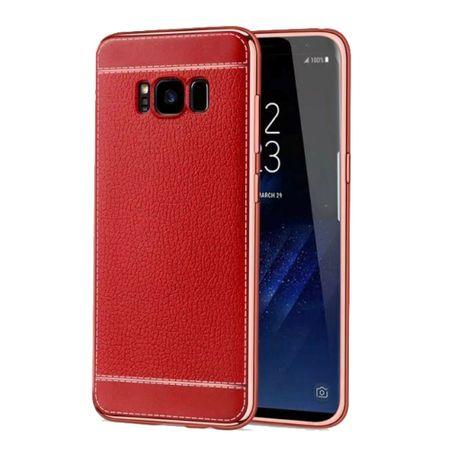 Handy Hülle für Samsung Galaxy S8+ Plus Schutz Case Tasche Etuis Kunstleder Rot