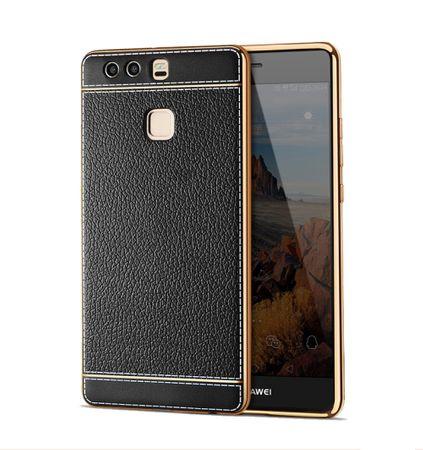 Handy Hülle für Huawei P9 Lite Schutz Case Tasche Bumper Kunstleder Schwarz