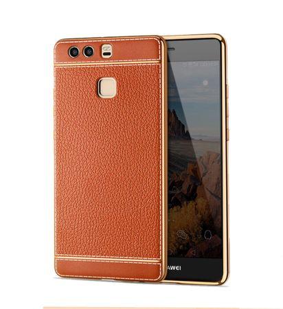 Handy Hülle für Huawei P9 Lite Schutz Case Tasche Bumper Etuis Kunstleder Braun