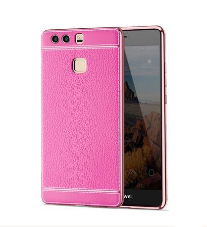 Handy Hülle für Huawei P9 Lite Schutz Case Tasche Bumper Etuis Kunstleder Pink
