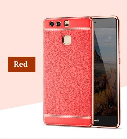 Handy Hülle für Huawei P10 Lite Schutz Case Tasche Bumper Etuis Kunstleder Rot – Bild 2