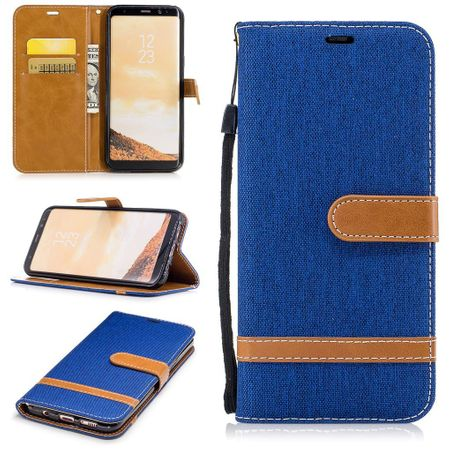 Tasche für Samsung Galaxy S8+ PLus Jeans Cover Handy Schutz Hülle Case Blau
