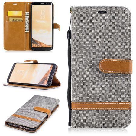 Tasche für Samsung Galaxy S8+ PLus Jeans Cover Handy Schutz Hülle Case Grau