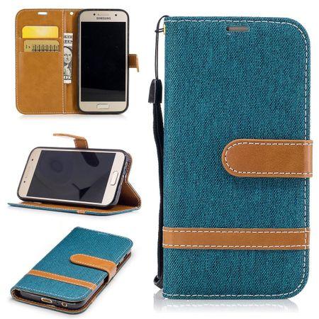 Tasche für Samsung Galaxy A3 2017 Jeans Cover Handy Schutz Hülle Case Grün