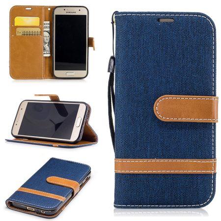 Tasche für Samsung Galaxy A3 2017 Jeans Cover Handy Schutz Hülle Case Dunkelblau