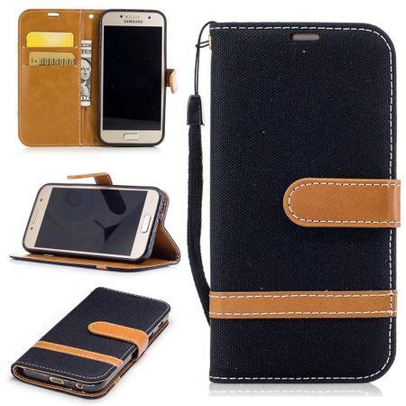 Tasche für Samsung Galaxy A3 2017 Jeans Cover Handy Schutz Hülle Case Schwarz
