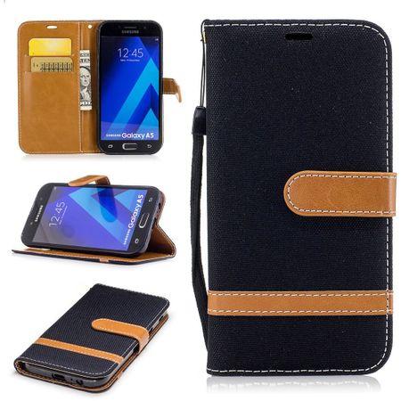 Tasche für Samsung Galaxy A5 2017 Jeans Cover Handy Schutz Hülle Case Schwarz