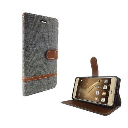 Tasche für Huawei P9 Jeans Cover Handy Schutz Hülle Case Grau – Bild 2
