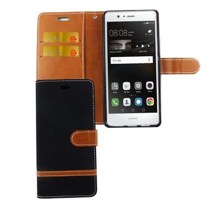 Tasche für Huawei P9 Lite Jeans Cover Handy Schutz Hülle Case Schwarz