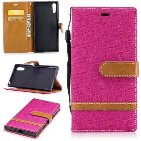 Tasche für Sony Xperia XZs Jeans Cover Handy Schutz Hülle Case Pink