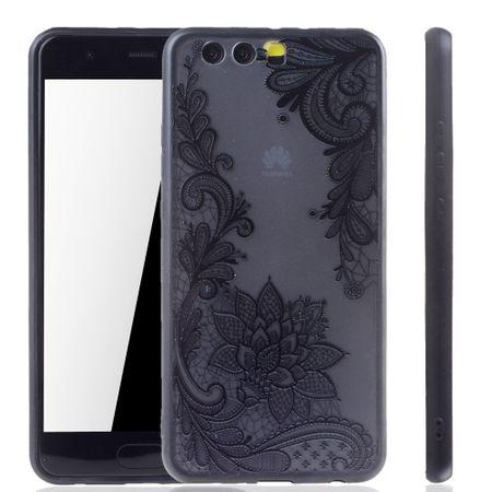 Handy Hülle Mandala für Huawei P10 Plus Design Case Schutzhülle Motiv Blüte Cover Tasche Bumper Schwarz – Bild 1