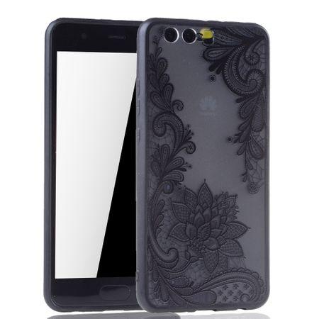 Handy Hülle Mandala für Huawei P10 Plus Design Case Schutzhülle Motiv Blüte Cover Tasche Bumper Schwarz – Bild 2