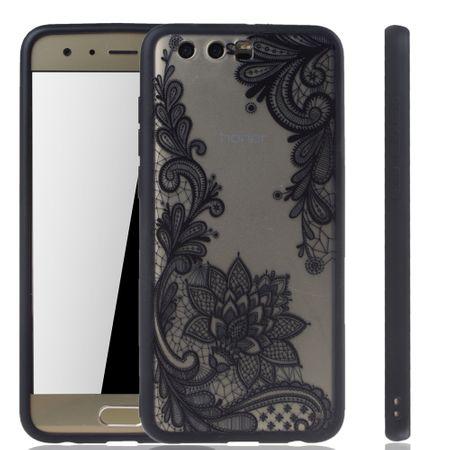 Handy Hülle Mandala für Huawei Honor 9 Design Case Schutzhülle Motiv Blüte Cover Tasche Bumper Schwarz