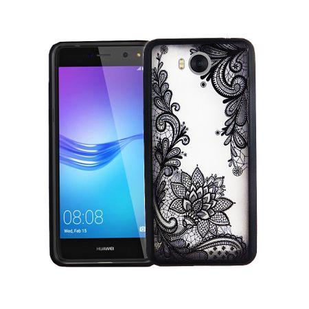 Handy Hülle Mandala für Huawei Y5 2017 Design Case Schutzhülle Motiv Blüte Cover Tasche Bumper Schwarz