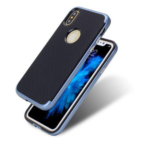 Hybrid Silikon Handy Hülle für Apple iPhone X Case Cover Tasche Blau