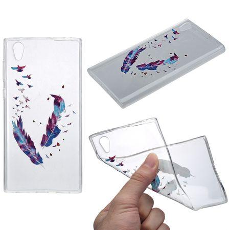 Henna Cover für Sony Xperia XA1 Ultra Case Schutz Hülle Silikon Federn Bunt