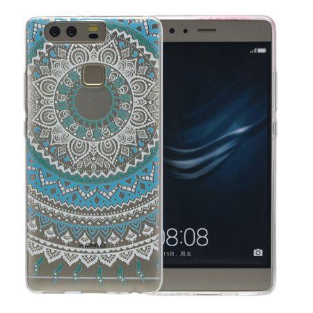 Henna Cover für Huawei P9 Case Schutz Hülle Silikon Sonne Blau