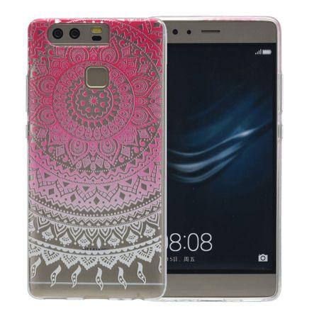 Henna Cover für Huawei P9 Case Schutz Hülle Silikon Sonne Pink