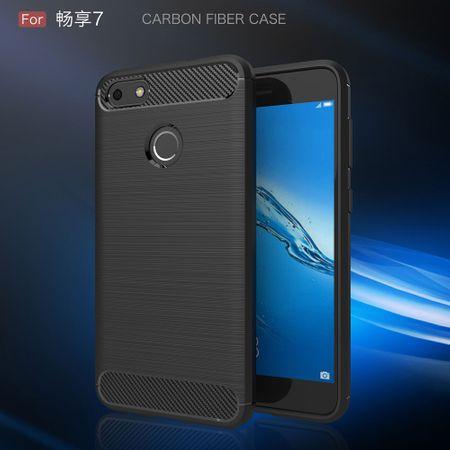Huawei Y6 2017 TPU Case Carbon Fiber Optik Brushed Schutz Hülle Schwarz – Bild 2