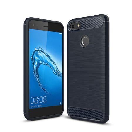 Huawei Y6 2017 TPU Case Carbon Fiber Optik Brushed Schutz Hülle Blau – Bild 1