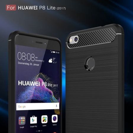 Huawei P8 Lite 2017 TPU Case Carbon Fiber Optik Brushed Schutz Hülle Schwarz – Bild 6