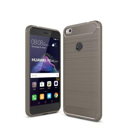 Huawei P8 Lite 2017 TPU Case Carbon Fiber Optik Brushed Schutz Hülle Grau