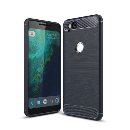 Google Pixel 2 TPU Case Carbon Fiber Optik Brushed Schutz Hülle Blau