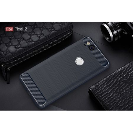 Google Pixel 2 TPU Case Carbon Fiber Optik Brushed Schutz Hülle Blau – Bild 2