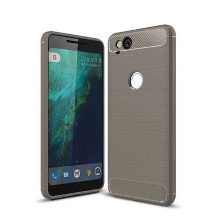 Google Pixel 2 TPU Case Carbon Fiber Optik Brushed Schutz Hülle Grau