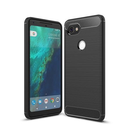 Google Pixel XL 2 TPU Case Carbon Fiber Optik Brushed Schutz Hülle Schwarz