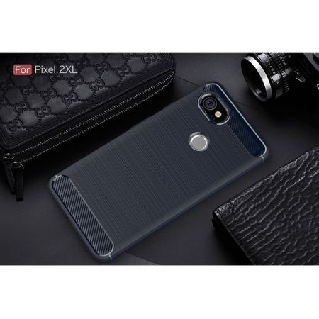 Google Pixel XL 2 TPU Case Carbon Fiber Optik Brushed Schutz Hülle Blau – Bild 2