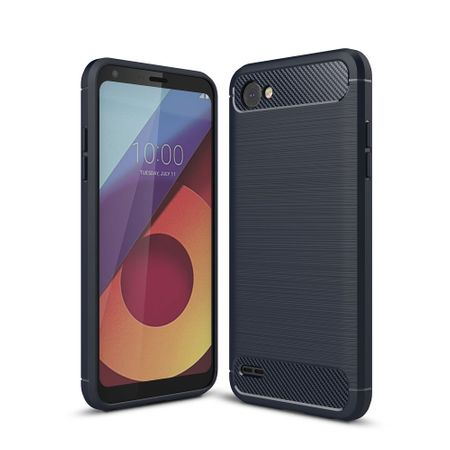 LG Q6 TPU Case Carbon Fiber Optik Brushed Schutz Hülle Blau – Bild 1