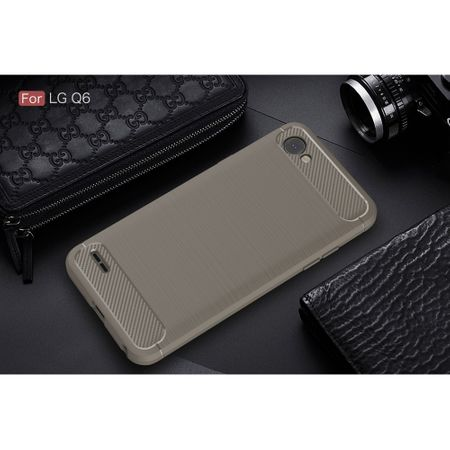 LG Q6 TPU Case Carbon Fiber Optik Brushed Schutz Hülle Grau – Bild 2