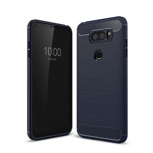 LG V30 TPU Case Carbon Fiber Optik Brushed Schutz Hülle Blau