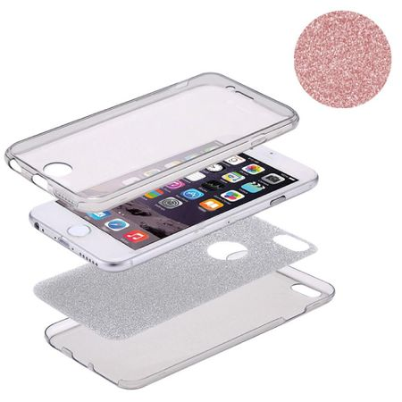 Crystal Case Hülle für Apple iPhone X Glitzer Case Rose Gold Full Body