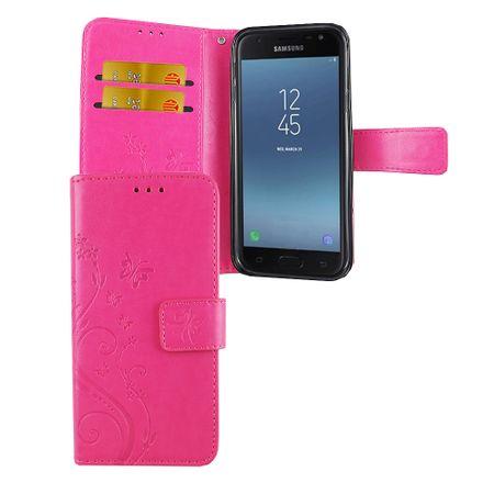 Schutz Hülle Blumen für Handy Samsung Galaxy J5 2017 Pink
