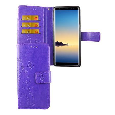 Schutz Hülle Blumen für Handy Samsung Galaxy Note 8 Violett
