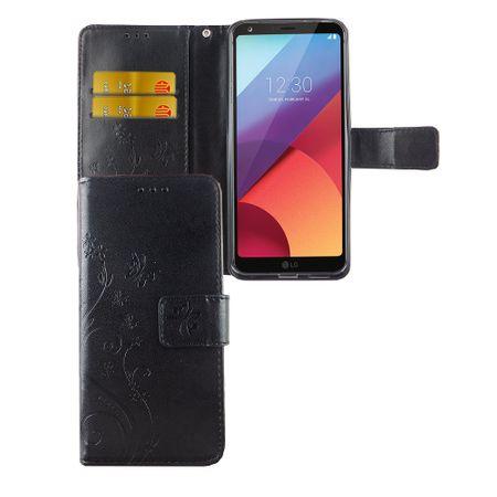 Schutz Hülle Blumen für Handy LG G6 Schwarz