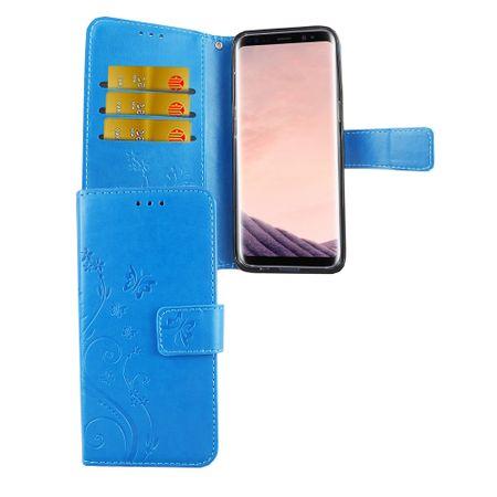 Schutz Hülle Blumen für Handy Samsung Galaxy S8 Blau
