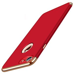 Handy Hülle Schutz Case für Apple iPhone 6s Plus Bumper 3 in 1 Cover Chrom Rot