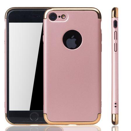 Handy Hülle Schutz Case für Apple iPhone 7 Bumper 3 in 1 Cover Chrom Rose Gold
