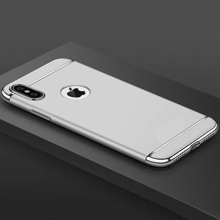 Handy Hülle Schutz Case für Apple iPhone X Bumper 3 in 1 Cover Chrom Etui Silber – Bild 3