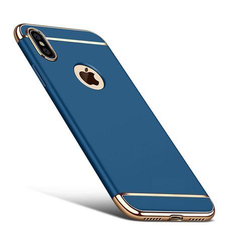 Handy Hülle Schutz Case für Apple iPhone X Bumper 3 in 1 Cover Chrom Etui Blau