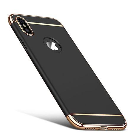 Handy Hülle Schutz Case für Apple iPhone X Bumper 3 in 1 Cover Chrom Schwarz