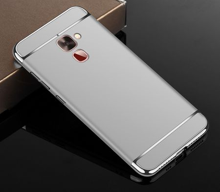 Handy Hülle Schutz Case für LeEco Le 2 Bumper 3 in 1 Cover Chrom Etui Silber