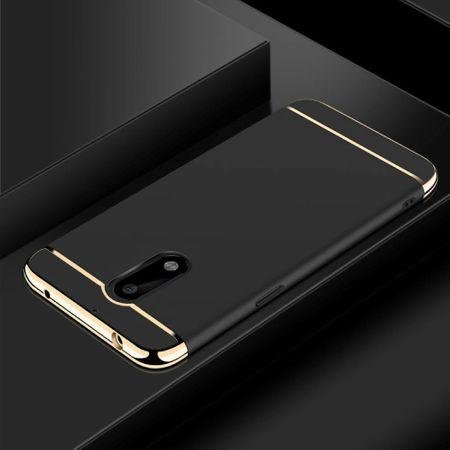 Handy Hülle Schutz Case für Nokia 6 Bumper 3 in 1 Cover Chrom Etui Schwarz