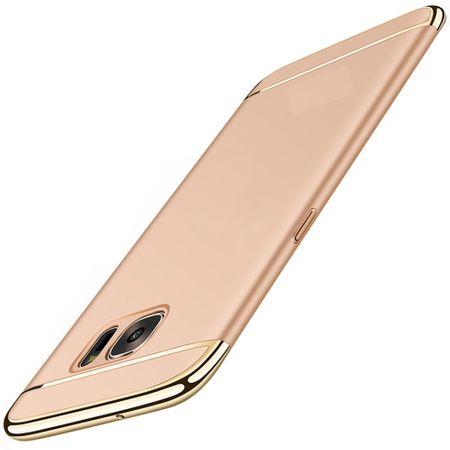 Handy Hülle Schutz Case für Samsung Galaxy S7 Bumper 3 in 1 Cover Chrom Gold