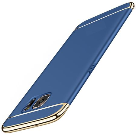 Handy Hülle Schutz Case für Samsung Galaxy S7 Bumper 3 in 1 Cover Chrom Blau