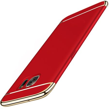 Handy Hülle Schutz Case für Samsung Galaxy A7 2017 Bumper 3 in 1 Cover Chrom Rot